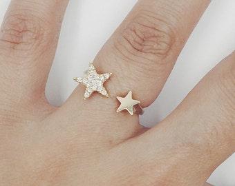 Diamond  Ring, Star Ring, Minimalist Ring, Unique Ring, 14K Gold Ring Gold Ring, Dainty Ring