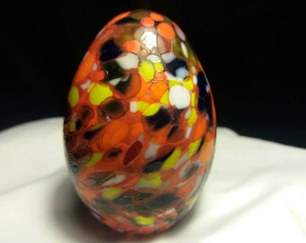 Spotted Hand Blown Glass Easter Egg