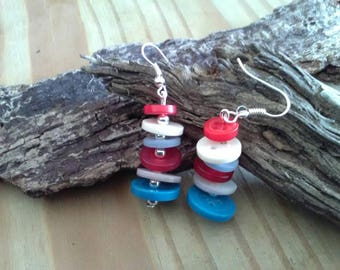 Red, White & Blue Button Dangle Earrings