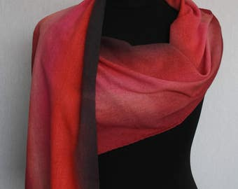 Silk scarf (transparent bourette-side), 160 x 30 cm, hand painted in Burgundy Red, pink and black (L-0106)