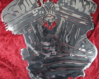 Flat Head Engine, Harley Inspired Art, Metal Flat Head Engine, Metal Engine, Metal Motorcycle Engine, Motorcycle Shop Decor, Man Cave, Gift