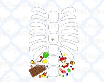 Skeleton Ribs with Candy SVG,EPS,PNG,Studio