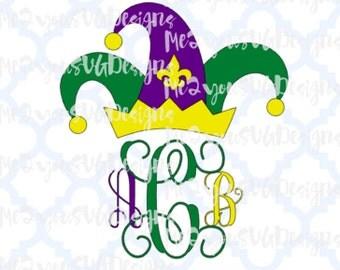 Mardi Gras Jester Hat Monogram Frame SVG,EPS,PNG,Studio