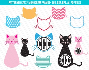 Cat SVG cutting files,DXF, Kitty Svg, Patterned cats clipart, Kitten svg, cat monogram svg, Cat SVG, Cricut, Cat Vector, animal Svg