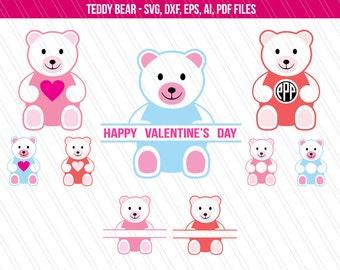 Teddy bear SVG, valentine's day svg, teddy bear for kids, teddy bear cutting files, teddy bear monogram, teddy clipart - SVG,dxf,eps, pdf,ai
