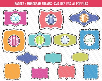 Monogram svg cutting files | Monogram frames vector | Monogram frames for printing | Badges Svg | cricut | Cameo | eps,dxf,ai,svg,pdf