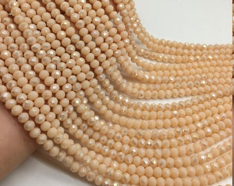 1Full Strand Crystal Rondelle Beads,4*3mm Faceted Crystal  Glass Beads For Jewelry Making