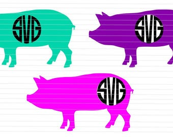 Pig SVG Pig Monogram SVG Farm SVG Cricut Silhouette Digital Download