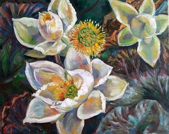 "Original Oil Painting, Lotus flowers, 1705234, 16""x20"""