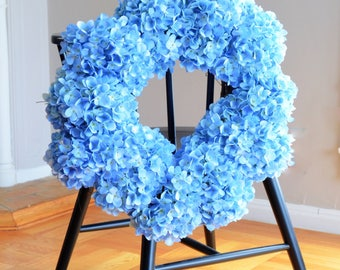 Blue Hydrangea Wreath | Summer Wreath | Summer Wreaths for front door | Front Door Wreaths | Faux Wreaths | Silk Wreath | Gift Ideas