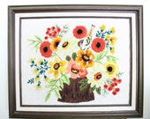 Vintage Colorful Floral and Bird Crewel Art // Framed Bright Flowers Embroidery Art