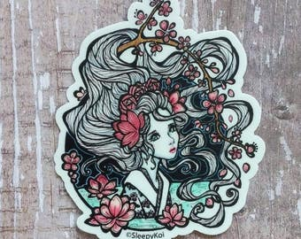 Spring Goddess 3 Inch Vinyl Sticker Inspired by Springtime, lotus flowers and Sakura blossoms. Planner Accessories Laptop Phone Gift Journal