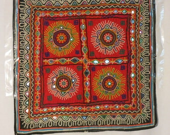 Vintage Fabric Wall Hanging  -Rabarie Tribal Dowry Panel 470mm X 470mm
