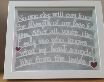 Mother Daughter Gift, Daughter Gift, Gift for her, Quote Frame, Papercut