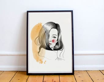 Dreamer - lovely illustration for special people, poster, fashion drawing, print, home decoration, paintings