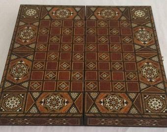 Chess Board, Backgammon, Backgammon Board, Wooden chess board, Carved Backgammon, Syrian artisan mosaic backgammon, Marquetry chess board