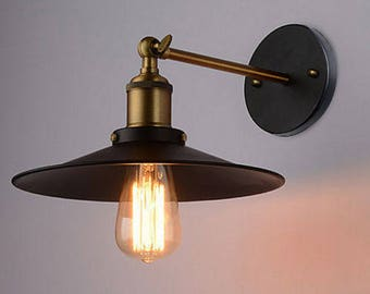 Industrial Vintage Wall Mounted Light / Lamp rustic look. Antique retro brass copper metal finish. Edison. Sconce Brass art deco shade