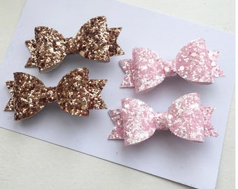 Baby Pink and Rose Gold Pigtail sets - Pink Glitter Pigtails Bow - Rose Gold Pigtails Bow - Mini Pinch Clips