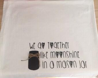 Mason Jar Tea Towel, Flour Sack Towel, Mason Jar Decor, Rustic Kitchen Decor, Decorative Dishcloth, Country Home Decor