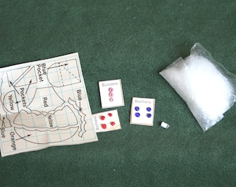 Miniature Sewing Room Supplies, Pattern, Button Cards, Thread