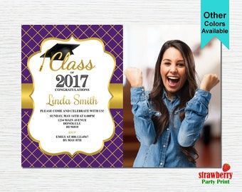 Graduation Party Invitation, Graduation Invitation, 2017 Grad, College Graduation, Purple & Gold, Printable Invitation G12