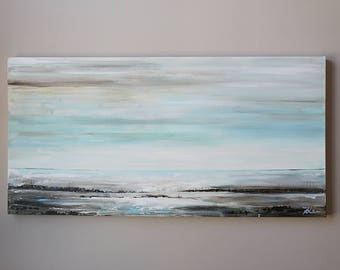 48x24 modean painting ,Acrylic abstract painting,  Wall art,blue abstract,painting on canvas,abstract landscape,large abstract painting
