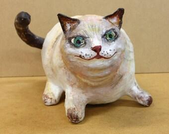 FAT CAT Paper Mache SCULPTURE, animal pet lover papier mache figurine, fatty kitty pussycat shelf desk home decor
