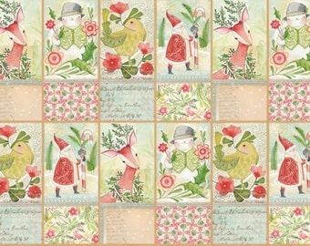 PANEL - I Love Christmas by Cori Dantini for Blend Fabrics, Pattern #112.111.06.2 Seeds, White Dashes on a Tonal Green, HALF Yard