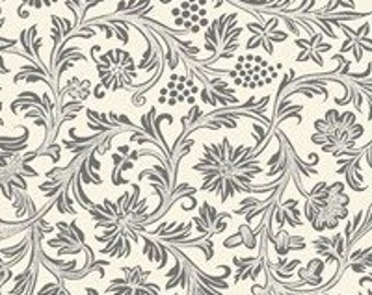 By the HALF YARD - French Market by Paula Scaletta for Blue Hill Fabrics, Pattern #8251-15, Gray Scrolling Floral on a Creamy White