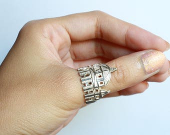 Travel Cityscape Silver Ring St Peter's Basilica Vatican Rome Europe Religious Jewelry,Personalized Handmade Gift Idea