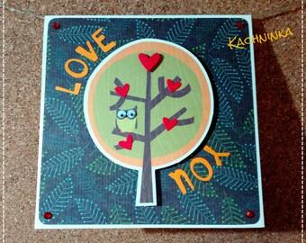 Owl's Love Tree, greeting card / Valentine's Day
