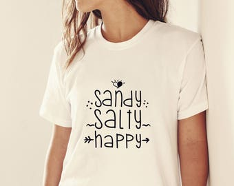 summer svg, summer t-shirt design, sandy salty happy, girls svg, beach cutting file, summer heat transfer design, summer dxf, beach quote