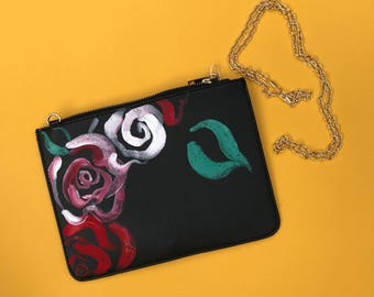 Hand Painted flower clutch bag