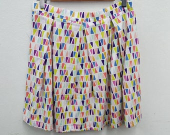 Triangle geometric pastel bright mini skirt AUS/UK 12