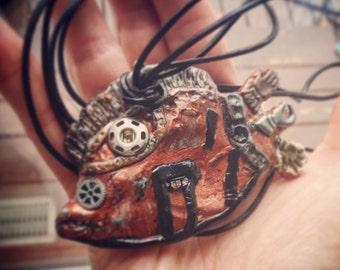 Steampunk fish necklace dieselpunk