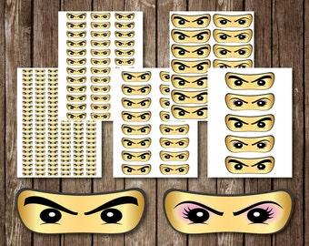 Ninja Eyes Male and Female Sticker Printables JPEG Birthday Party 1 to 5 Inch, Brick Ninja Eyes Birthday Party Vinyl Decal, Instant Download