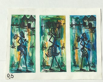 Hand painted abstract African artwork