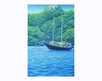 Original Art Acrylic Sail Boat Painting Yacht Painting Sailboat Nautical Art Maritime Art Marine Art Ocean Art Unframed Painting