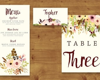 Autumn Watercolour Floral Place Cards, Table Numbers, Menu Cards - Fall Wedding - Table Name - Name Card - Wedding Stationery