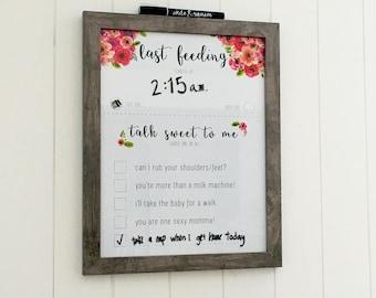 Baby Shower Gift ,Last feeding,Newborn feeding Tracker,11x14 Breastfeeding schedule (chalk pen included!!)