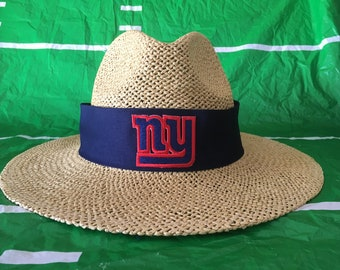 New York Giants straw hat.