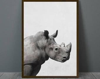 Rhino Print, Rhino Wall Decor, Rhino Poster, Rhino, Animal Print Wall Decor, Rhino Wall Art, Rhino Nursery Print, Rhino Nursery Wall Art