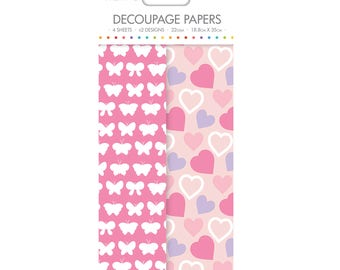 Flutter Hearts Floral Pattern Decoupage Papers x 4 - Simply Creative