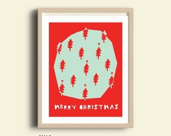 Printable Christmas decor, christmas tree printable, instant download christmas poster, christmas tree print, merry christmas red typography