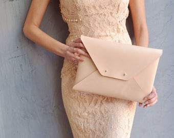 Nude leather clutch bag / Nude envelope clutch / Leather bag available with wristlet / Genuine leather / Wedding clutch / Bridesmaid gift