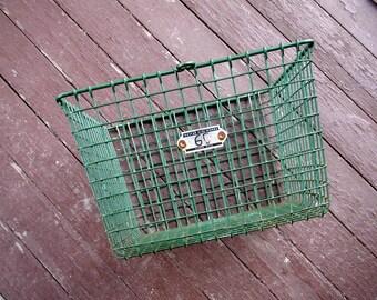 Industrial Metal Wire Storage Bin With Number Tag Vintage Locker Basket Stacking Crate Kaspar Wire Works SALE!