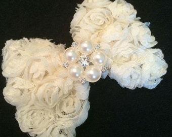 Ivory 3D Chiffon Rose Hair Bow