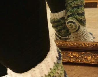 Crochet Swirl socks! Blue, green, gray and white.