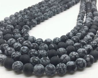 10mm Matte Snowflake Obsidian Beads, Round Gemstone Beads, Wholesale Beads