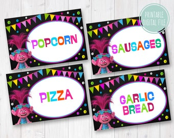 Trolls Food Labels, Trolls Food Tent Cards, Trolls Food Tents, Trolls Party Food Labels, Trolls Party Decoration, Trolls Labels for Food
